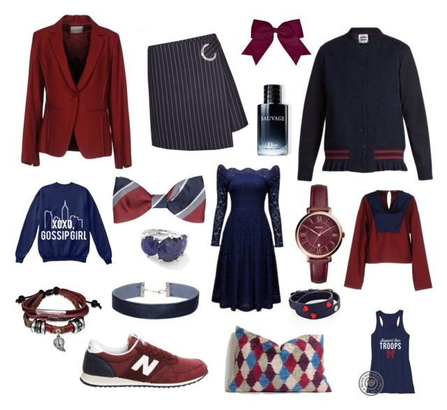 """""""Colour Combo Love: Maroon and Navy"""" by beavercity on Polyvore featuring ...à_la_fois..., Jil Sander Navy, Muveil, New Balance, Chassè, Bling Jewelry, FOSSIL, Miss Selfridge, Tory Burch and Ippolita"""
