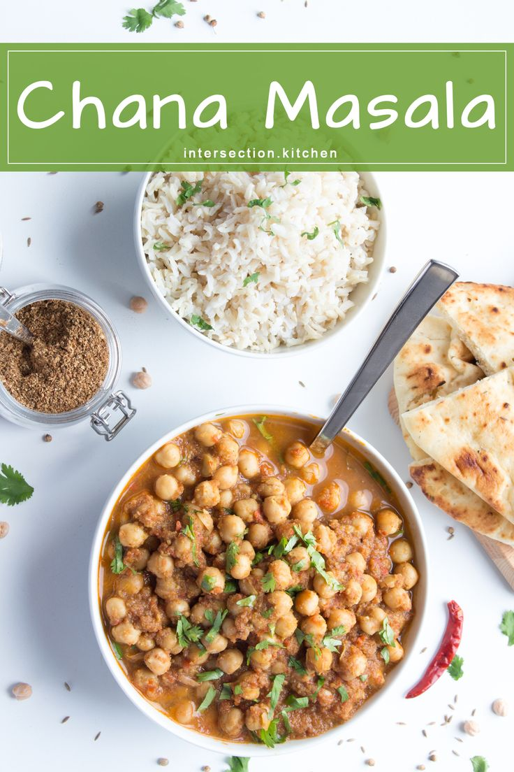 Chana Masala.  Easy and flavourful chickpea curry in less than an hour. #chana-masala #dinner #chickpeas #curry #vegan