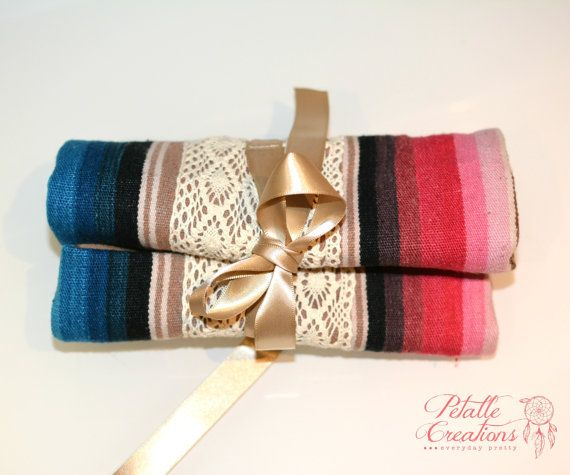 Make Up Brush Roll Art Roll Make Up Brush Case by PetalleCreations