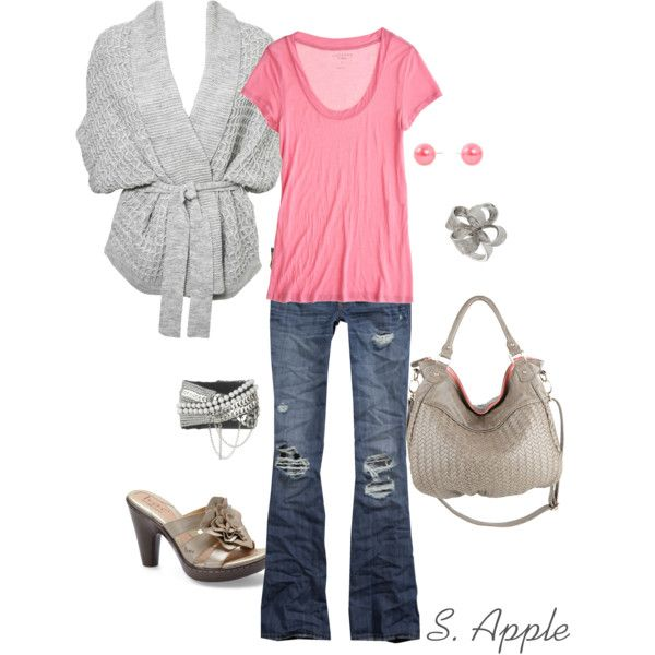 """""""Grey Wrap Sweater"""" by sapple324 on Polyvore: Colors Combos, Grey Wraps, Fashion, Wraps Sweaters, Grey Sweater, Sweaters My Styl, Sweaters Mystyl, Polyvore Outfits, Pink Outfits"""