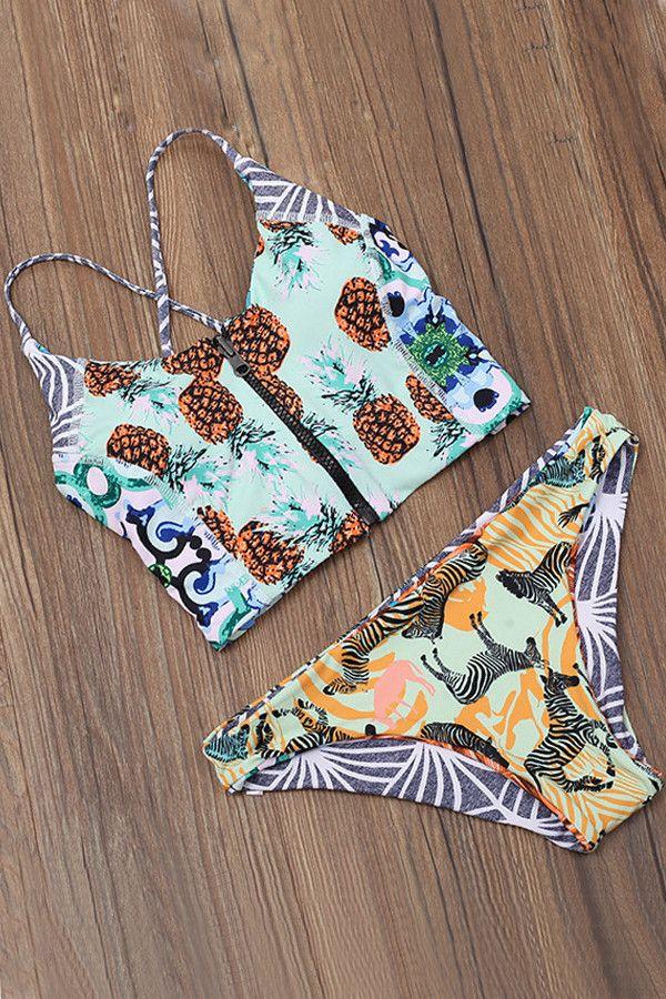 Zip-front Pineapple Midikini Top X Zebra Print Bottom Bikini Set