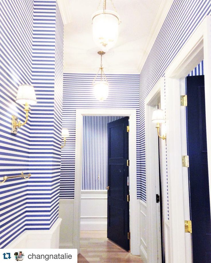 Striped Hallway, Rugs For Stairs And Beach Style