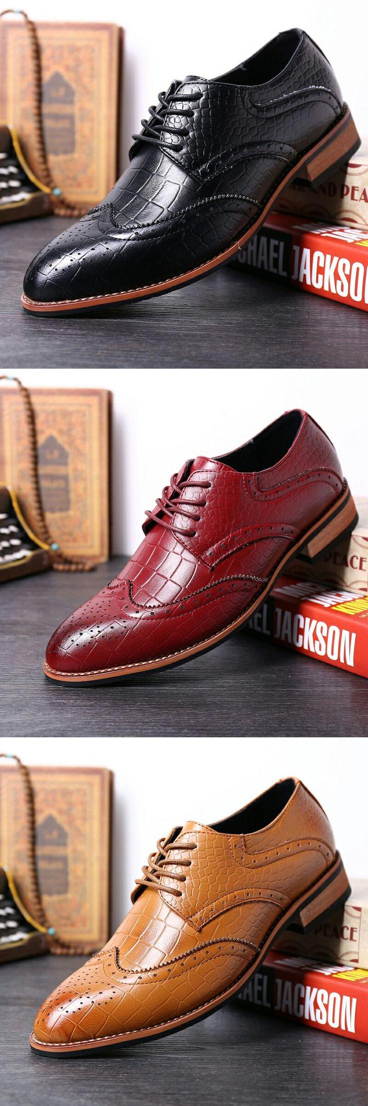 $29.48 <Click to buy> Crocodile Men Formal Oxford Shoe Genuine Leather