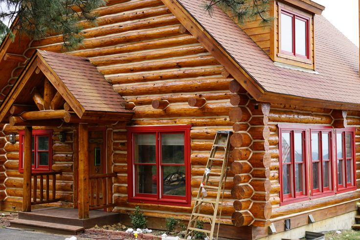 Finishing up this beautiful cabin project near Evergreen, Colorado.  Log home media blasting, staining, and chinking with Sashco product.