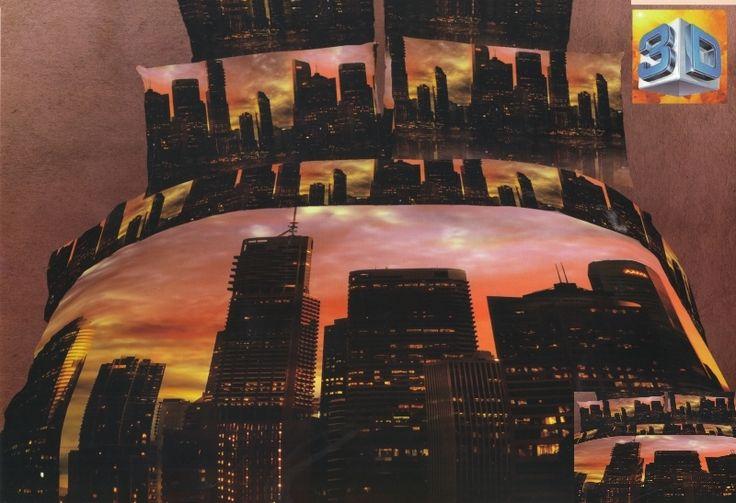 Posciel bawełniana na łóżko z zachodem słońca w wielkim mieście