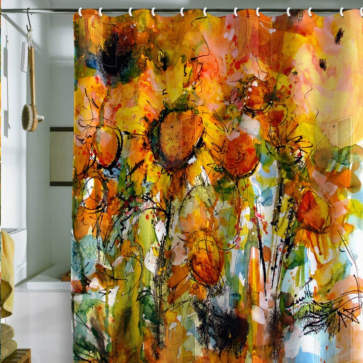 ginette fine art abstract sunflowers shower curtain. Black Bedroom Furniture Sets. Home Design Ideas