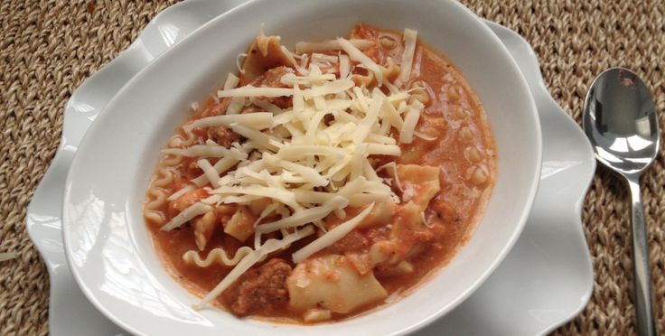 Slow Cooker Ground Beef Lasagna Soup Next time...Cook the onions on the stove till soft. Try it on low, high made then tomato sauce stick to the bottom.