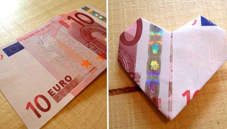 Als je toch geld cadeau geeft kun je er beter iets leuks van maken. Vouw in deze 10 stappen je eigen hartje van een geld briefje!