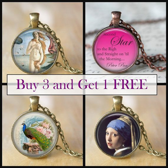 SALE NECKLACES Buy 3 and get 1 FREE glass by LiteraryArtPrints  #salejewerly #necklaces