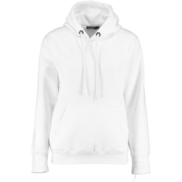 Boohoo Ivy Solid Oversized Hoody | Boohoo ($16) ❤ liked on Polyvore featuring tops, hoodies, white hoodies, white hooded sweatshirt, flat top, white hoodie and hooded sweatshirt
