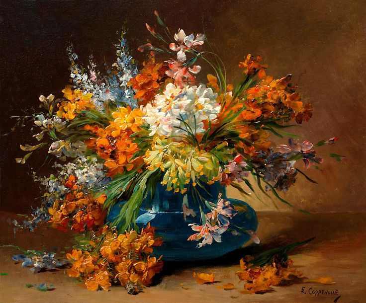 Still life of flowers in a blue vase - Edmond Van Coppenolle