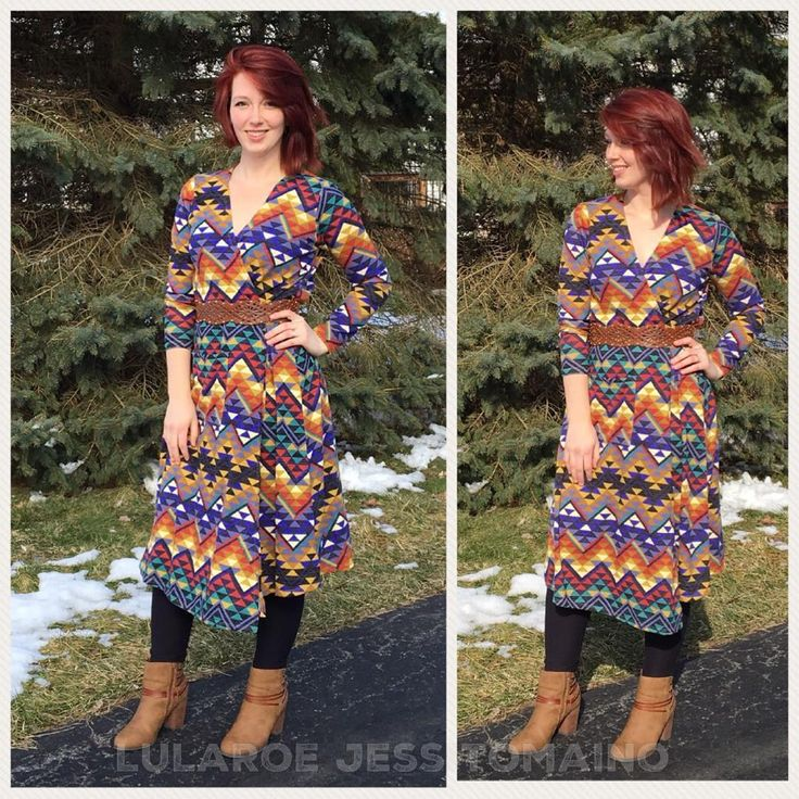 Im obsessed with this Sarah (As a wrap dress!!!) I took a page from @lularoemeganduffys style book.  I love my Aztec and southwestern style and rock the hell out of this if I do say so myself. #confidentstyle . . . #justbeltit #wearitwithboots #lularoe #lularoejesstomaino #lularoesarah #lularoesarahasawrapdress #wrapdress #dustersweater #lularoeaztec #takemetosedona #southwesternstyle #messyhairdontcare #lularoeretailer #famousfootwear #bootieshoes #lularoeleggings