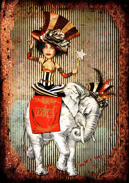 artwork by Dale...using 'Halloween at Mischief Circus Stripes' kit