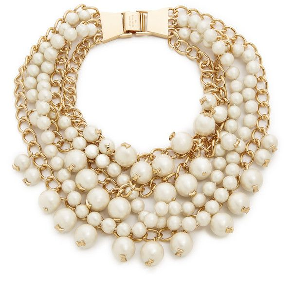 Kate Spade New York Purely Pearly Statement Necklace found on Polyvore featuring jewelry, necklaces, accessories, cream, cream jewelry, kate spade, bib statement necklace, kate spade jewelry and kate spade necklace