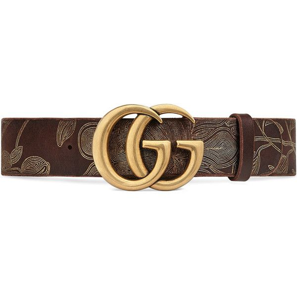 Gucci Ramage Leather Belt With Double G Buckle ($525) ❤ liked on Polyvore featuring accessories, belts, dark brown, women, dark brown belt, gucci, gucci belt, dark brown leather belt and embroidered belts
