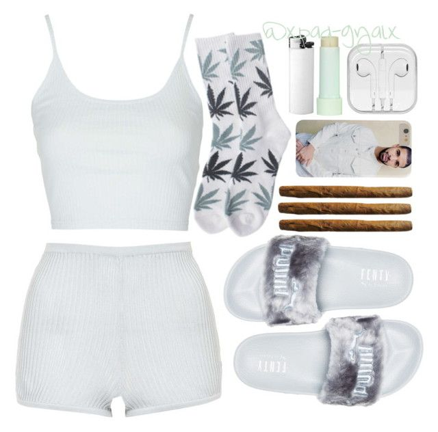 """""""✌"""" by xbad-gyalx ❤ liked on Polyvore featuring Topshop, Puma, HUF and Eos"""