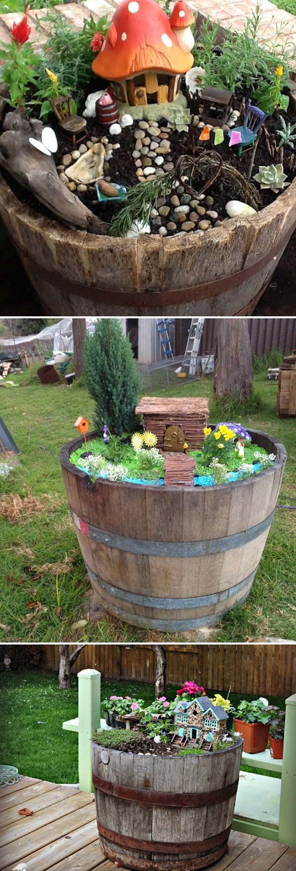 Don't throw away those broken wine barrels, they can be turned to beautiful fairy garden - 17 Stunning Fairy Gardens Created by Recycled Things