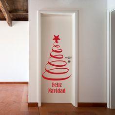 Arbol de Navidad para colocar en la puerta de una habitación o en la de la entrada. Decora la navidad de una forma original y sin ocupar espacio