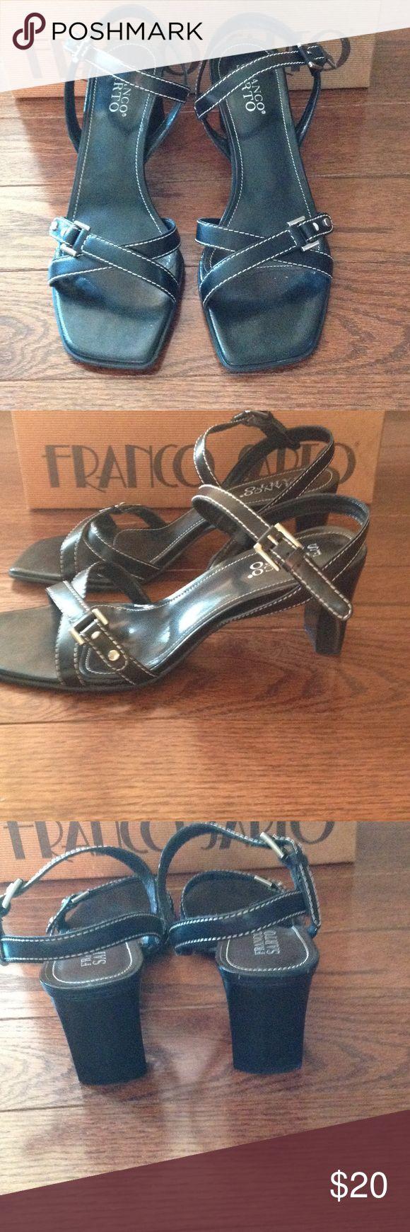 Black sandals 2 inch heel - Franco Sarto Black Heeled Sandal Approx 2 1 2 Inch Heel X Design On