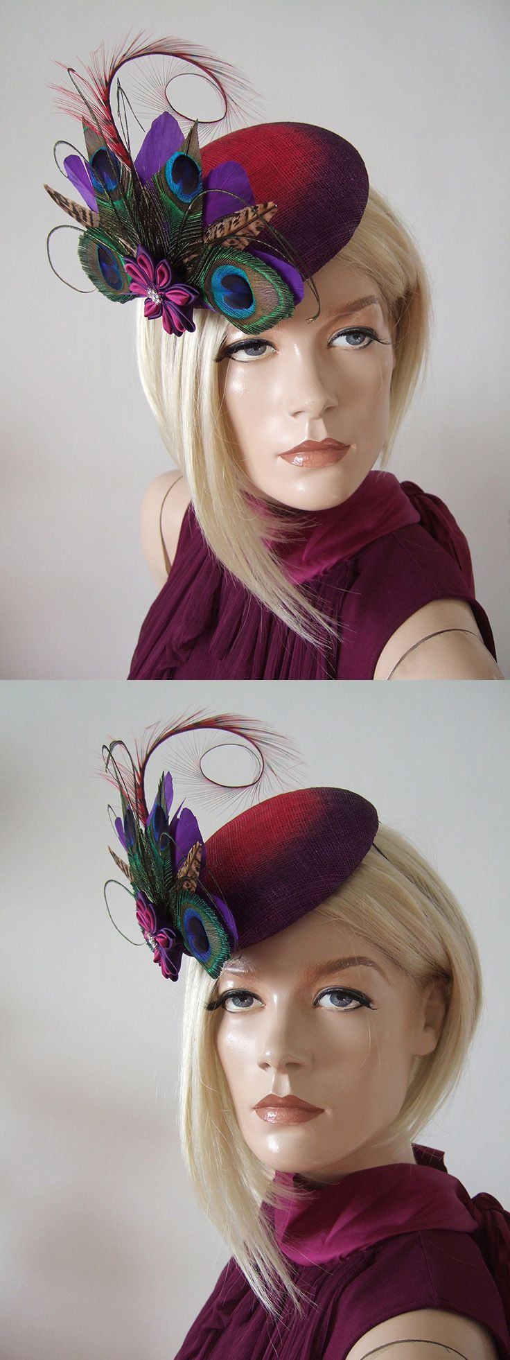 Beautiful Hand Made Fascinator. Fuchsia Graduating to Purple Ombre Large Button Base, with Feather Arrangement in all Tones of Blues and Greens from the Peacock, on a Bed of Purple Swan and Ringneck Pheasant Feathers centred with a Deep Pink and Purple Tsumami Kanzashi Flower with a little Crystal Button sparkling from the centre. #winterfashion #ombre #ombrefashion #aw17 #peacock #millinery #fascinator #affiliatelink #headpiece
