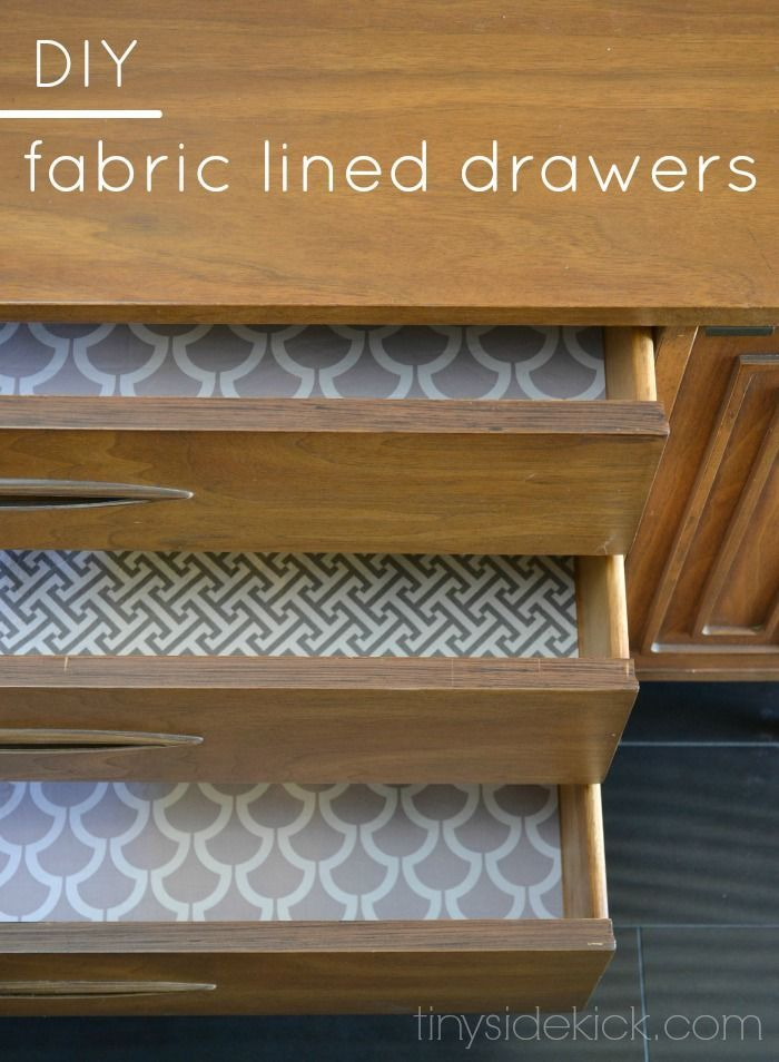 DIY Fabric Lined Drawers - this is such an easy way to add a fun pattern to the inside of your drawers!  And bonus...it's no sew and a perfect use for leftover fabric! (scheduled via http://www.tailwindapp.com?utm_source=pinterest&utm_medium=twpin&utm_content=post616095&utm_campaign=scheduler_attribution)