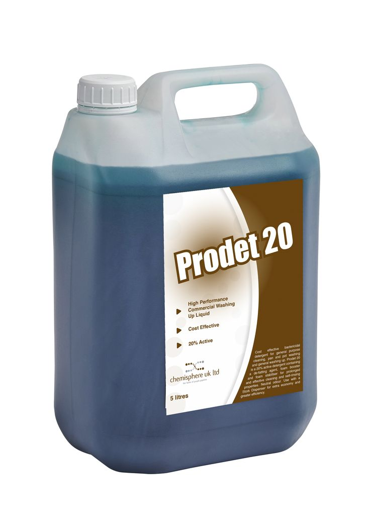 Prodet  20 is a cost effective bactericidal washing up liquid and general purpose cleaner. 20% active detergent containing a de-fatting agent, foam booster and foam stabliser for prolonged and effective cleaning and self-rinsing properties with a neutral odour.