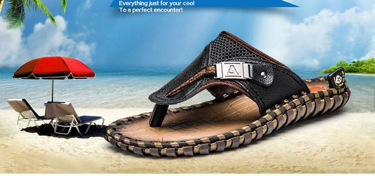 Merkmak Luxury Brand New Men's Flip Flops Genuine Leather Summer Fashion Beach Sandals