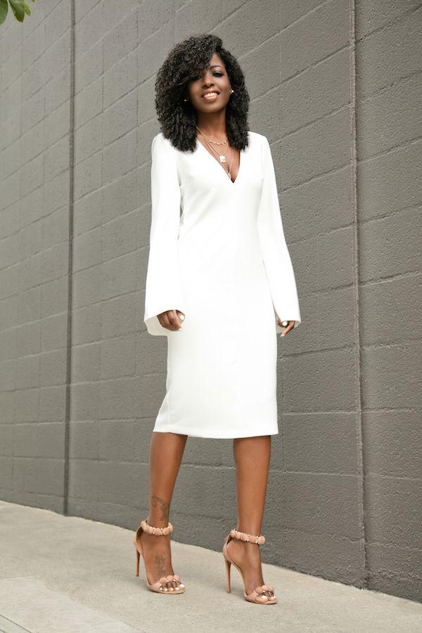 White Bell Sleeves Midi Dress