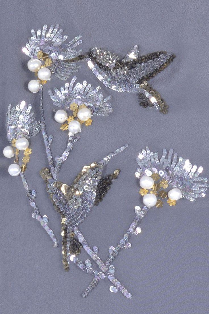 MUSE Hummingbird Embroidered Crepe Dress - SALES