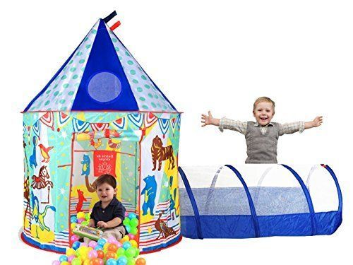 Play Tent Kids Tunnel Case Blue Circus Image Indoor Outdoor Boys Girls Fun Safe  #Aeroway