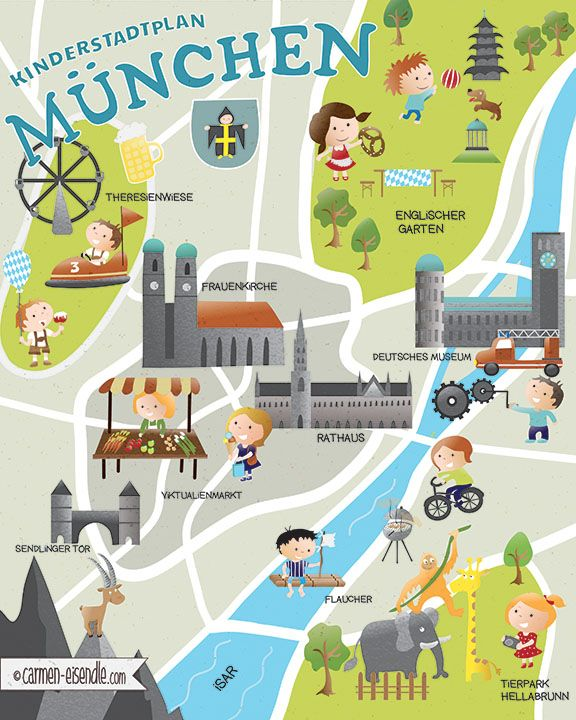 Great Kinderstadtplan M nchen Munich Illustrated Map Discover Munich us best places for Kids in Munich