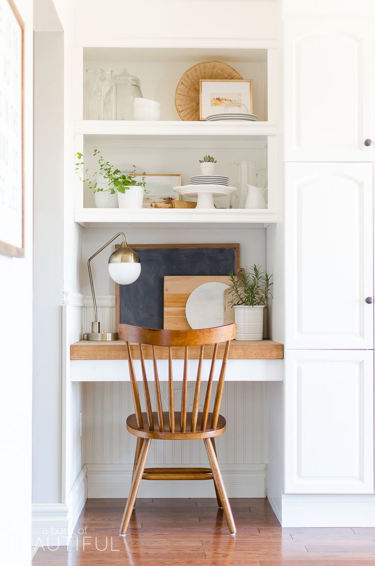 Beautiful Small Kitchen Desk Part - 14: How To Capture A Modern Farmhouse Style. Kitchen Desk ...