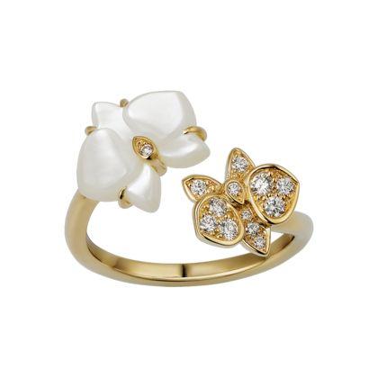 Caresse d'Orchidées par Cartier ring - Yellow gold, white mother-of-pearl, diamonds - Fine Rings for women - Cartier