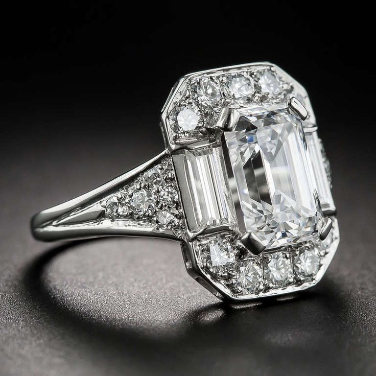 2.45 Carat Emerald-Cut Diamond Ring | From a unique collection of vintage engagement rings at https://www.1stdibs.com/jewelry/rings/engagement-rings/