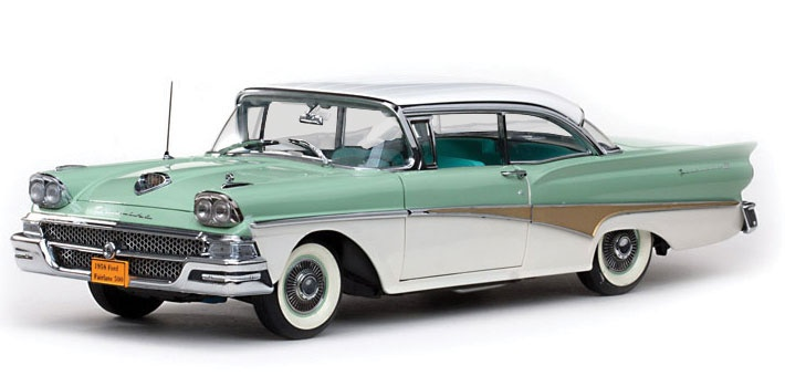 A 1955 Ford Fairlane In Robin Egg Blue