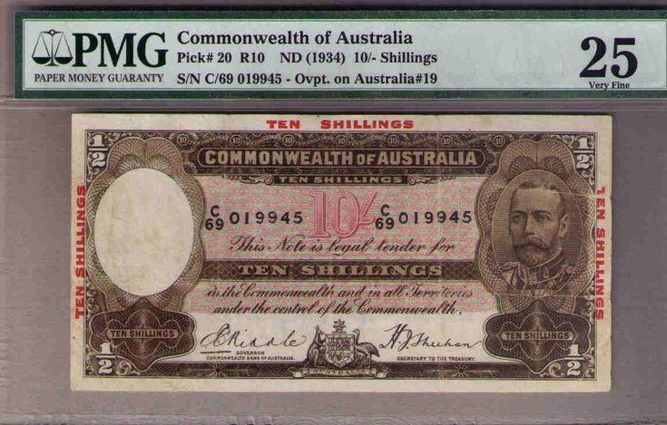 1934 10/ KGV Commonwealth of Australia. PMG VF25. Renniks R10