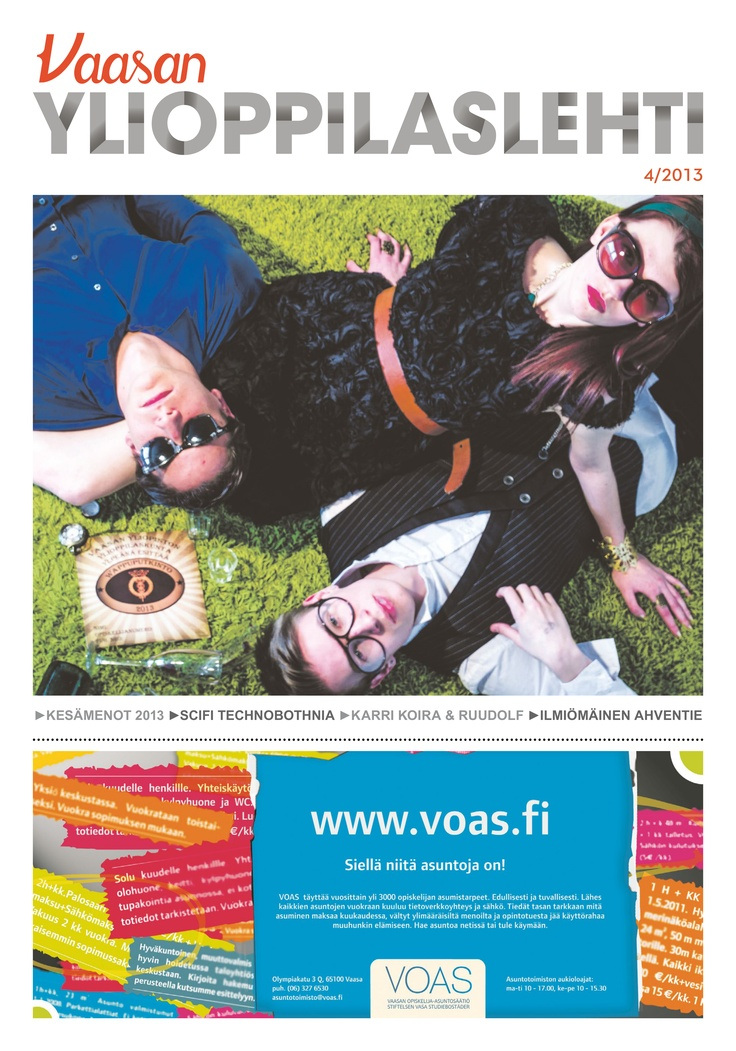 The cover of the Vaasan Yliopilaslehti (Vaasa University Magazine)  which I shot earlier this month.