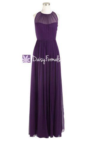 Dark Plum Bridesmaid Dress Sleek Illusion Neckline Vintage Evening Dre – DaisyFormals-Bridesmaid and Formal Dresses in 59+ Colors