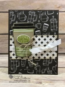 "Coffee Cafe Swap Cards – Just Sponge It! 3/8"" Classic Weave Ribbon, Big Shot, Coffee Break dsp, Coffee Cafe Bundle, Embossing Paste, Linen Thread, Palette Tools, Pattern Party Decorative Masks, DIY, Stampin' Up!, Thank you"