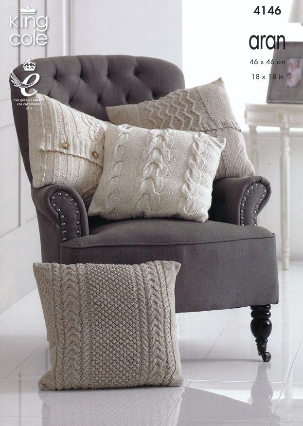 Cushions in King Cole Big Value Recycled Cotton Aran (4146) - KIT