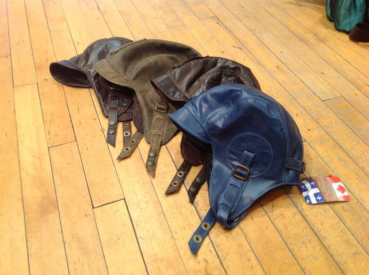 Canadian leather aviator hats..