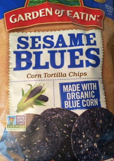 Blue Tortilla Chips. Not dyed, but made from actual blue corn. I got these from Ocado but you can find them in many large supermarkets.