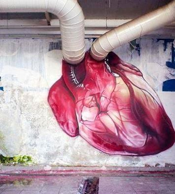 Graffiti Art from the Heart compete with ventricles to PUMP the blood around as the heart is just an awesome PUMP ❤