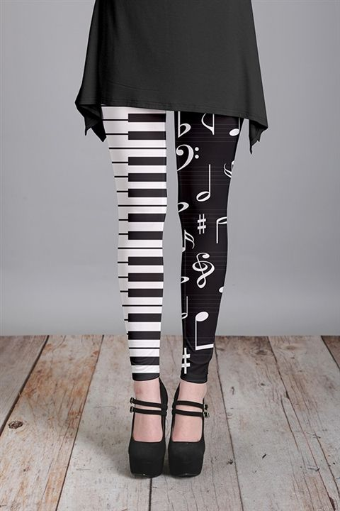 Piano Keys and Notes Leggings at The Music Stand