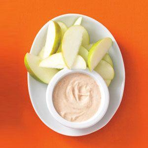 Apple Dippers - 1 small sliced apple; 1/4 cup lowfat plain yogurt mixed with 1 tsp peanut butter, 1 tsp honey, 1/4 tsp cinnamon