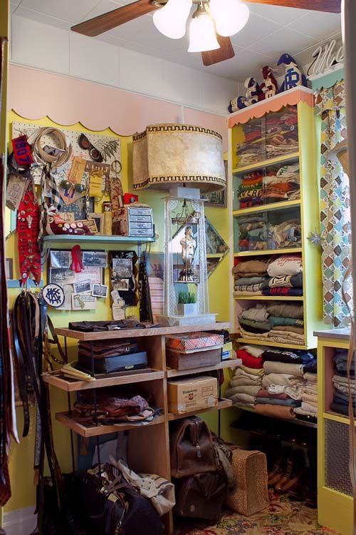 Shelves of vintage menswear.