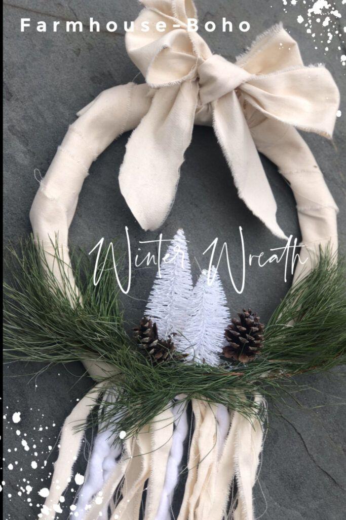 Farmhouse Boho Evergreen Winter Wreath DIY Winter wreath