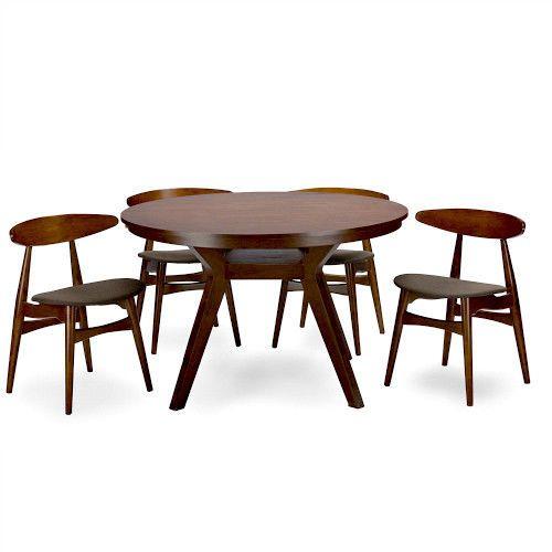 5Pc Dining Set Brown Kitchen Breakfast Round Table Chairs Retro Style Furniture  #WholesaleInteriors #VintageRetro