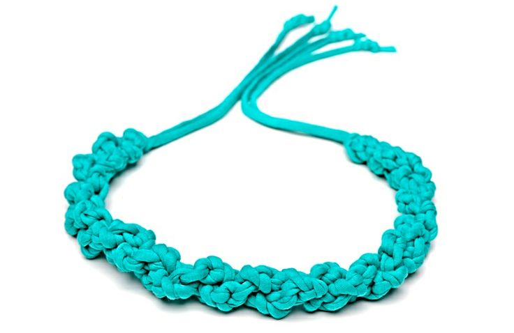 Maccheron 100% Fabric Crochet Necklace (turquoise green) - Designed and handmade with ♥ ...in Budapest ...by me :-) Like my page on FB: www.facebook.com/Maccheron