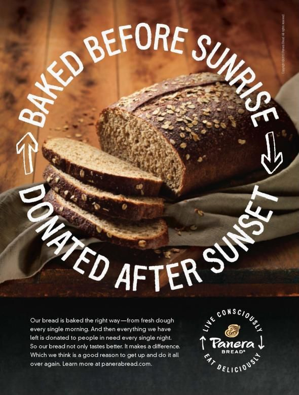 Panera Bread Company: Baked Before Sunrise, Donated after sunset